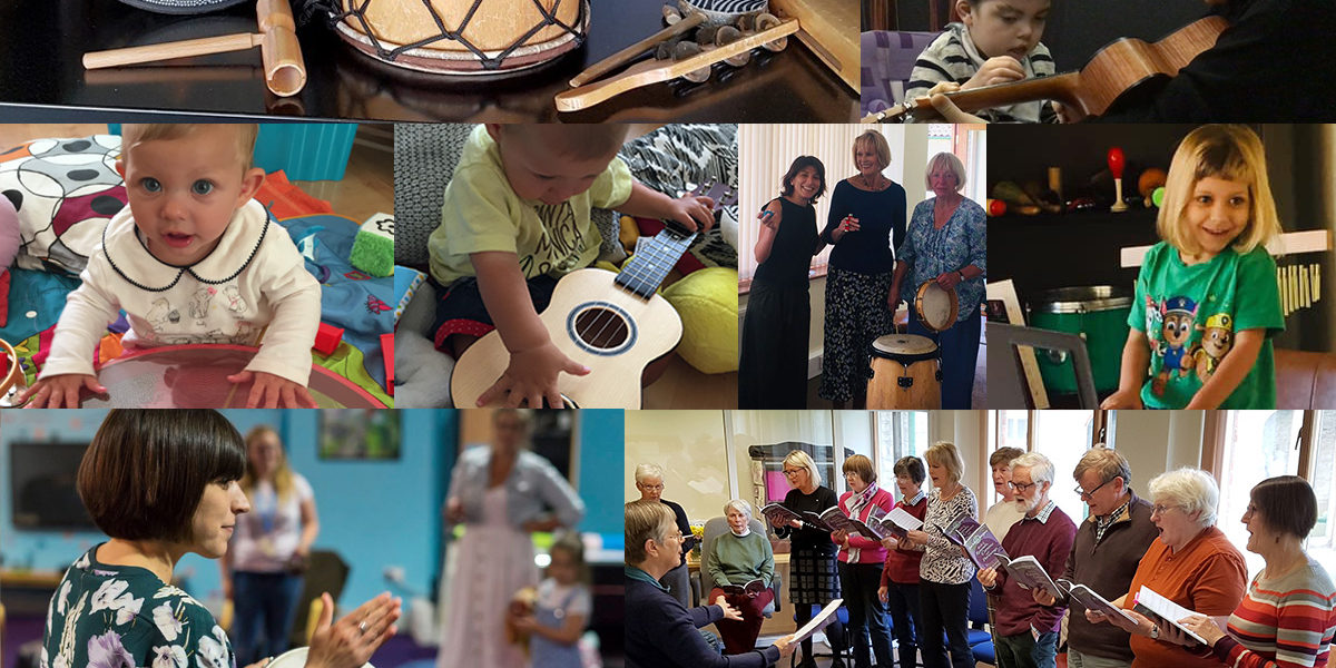 Montage of people taking part in music therapy