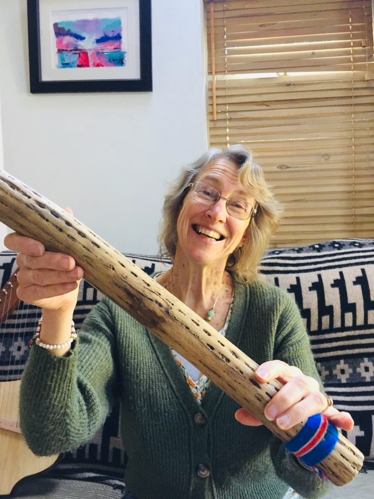 Jane with rainstick